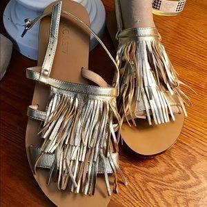 J Crew gold fringe flat sandals EUC size 8